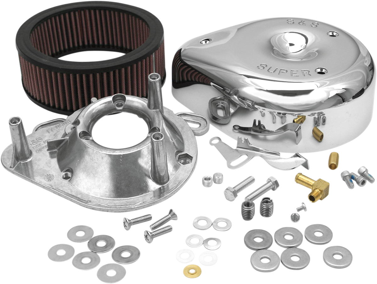 S&S Cycle Chrome E&G Tear Drop Air Cleaner Kit for 84-92 Harley Touring Softail