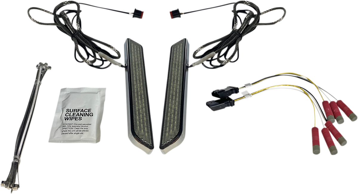 Custom Dynamics Chrome Universal LED Front Fork Leg Reflector Lights For Harley