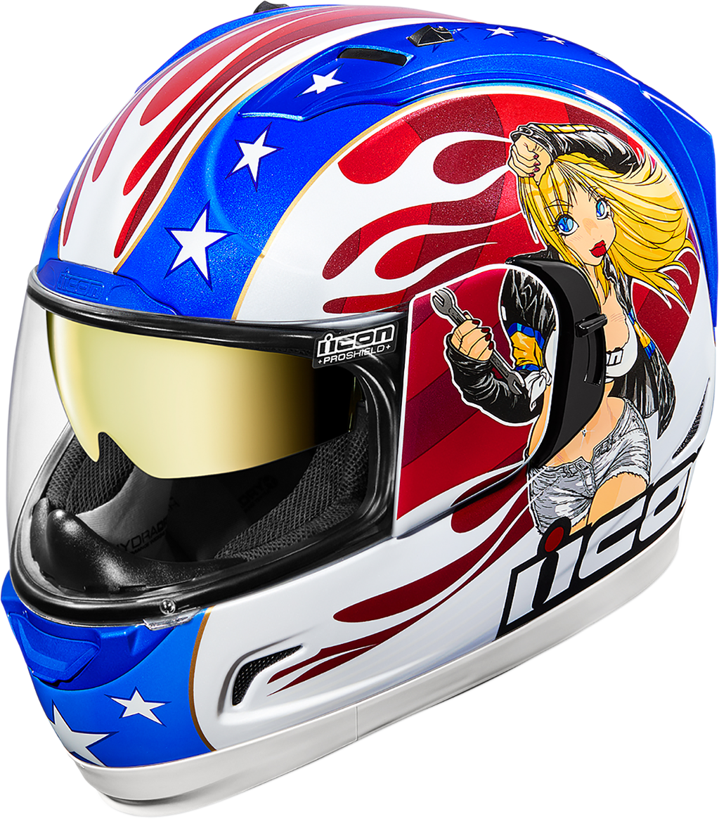 Icon Alliance GT Red White Blue Fullface Motorcycle Street Helmet CLOSEOUT