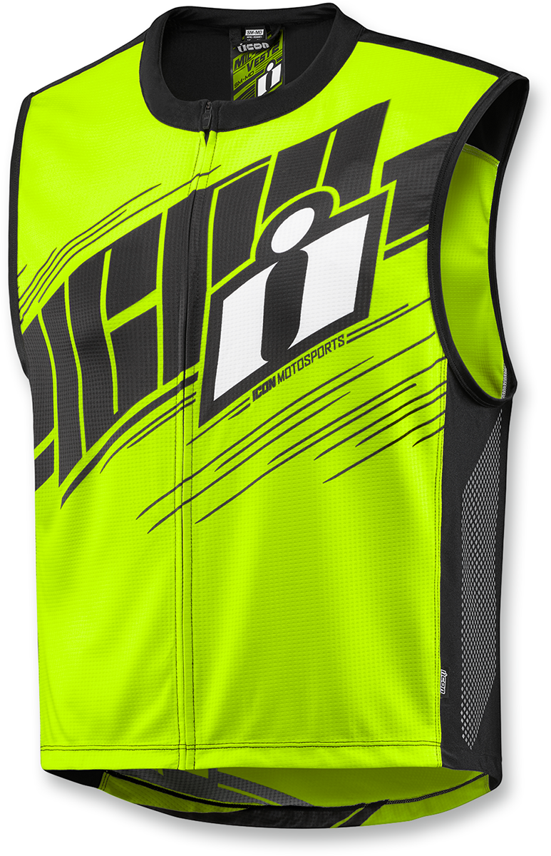 Icon Mens Yellow Mil Spec 2 Reflective Textile Motorcycle Riding Street Vest