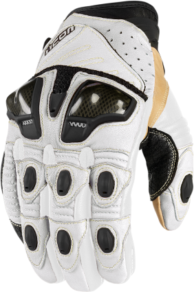 Icon White Overlord Mens Short Medium Motorcycle Riding Street Racing Gloves