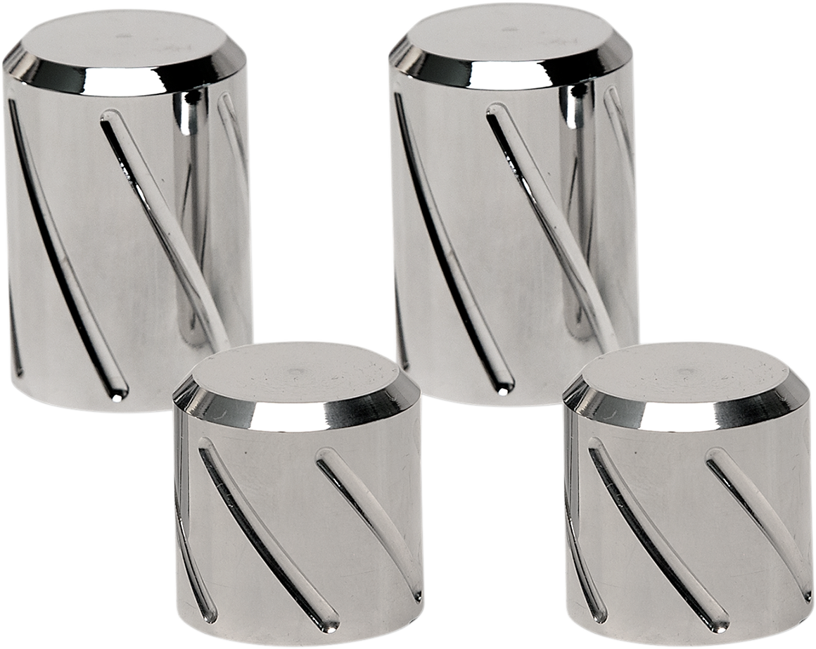 Pro Pad Billet Chrome Spiral Rear Docking Station Caps for Harley Touring FLHX
