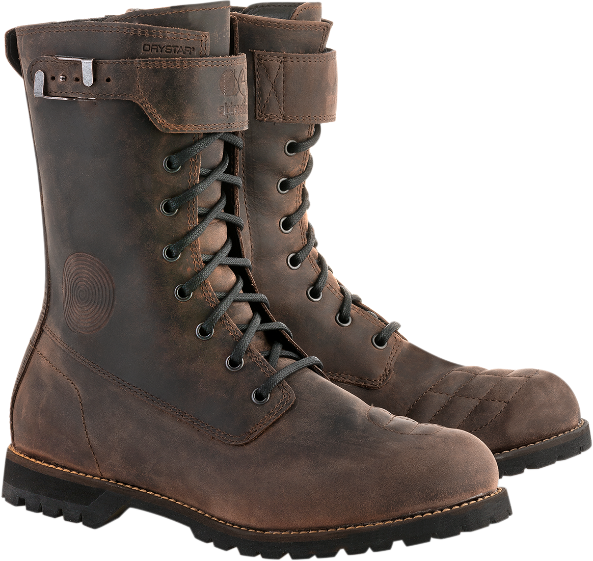 Alpinestars Oiled Brown Leather Firm Drystar Motorcycle Riding Street Mens Boots
