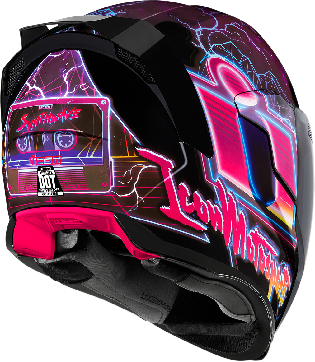 Icon Unisex Synthwave Airflite Full Face Motorcycle Riding Street Racing Helmet