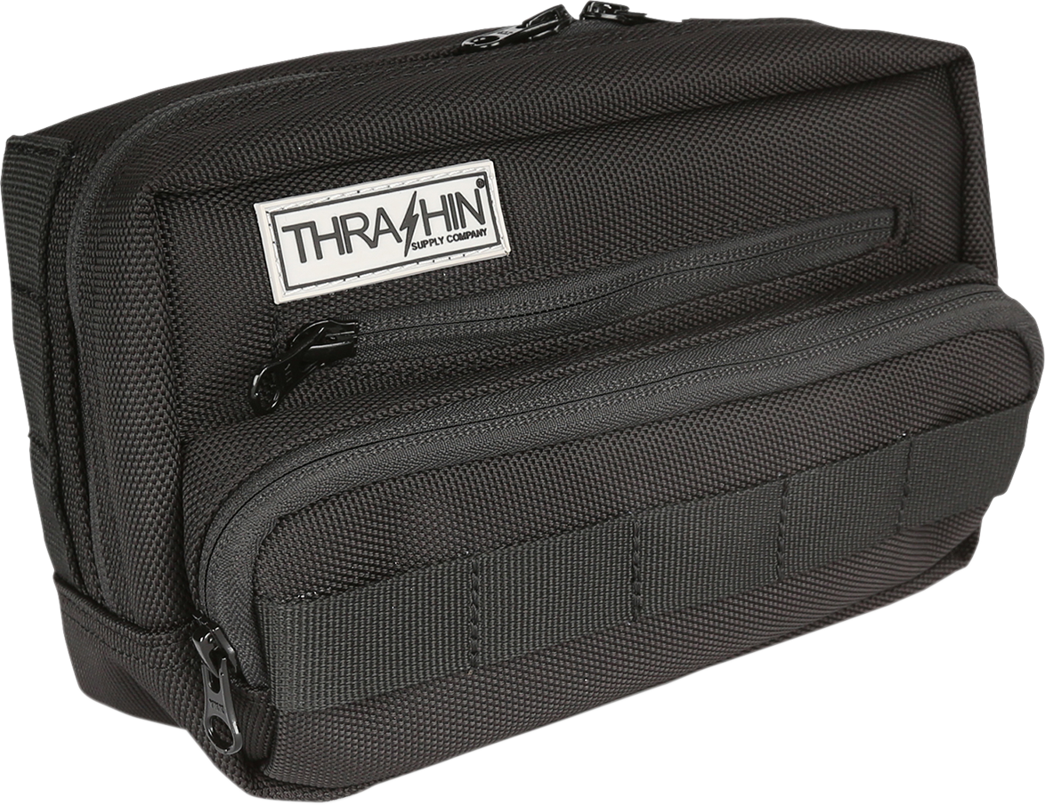 Thrashin Black Molle Webbing Motorcycle Front Handlebar Rear Sissybar Bag Plus
