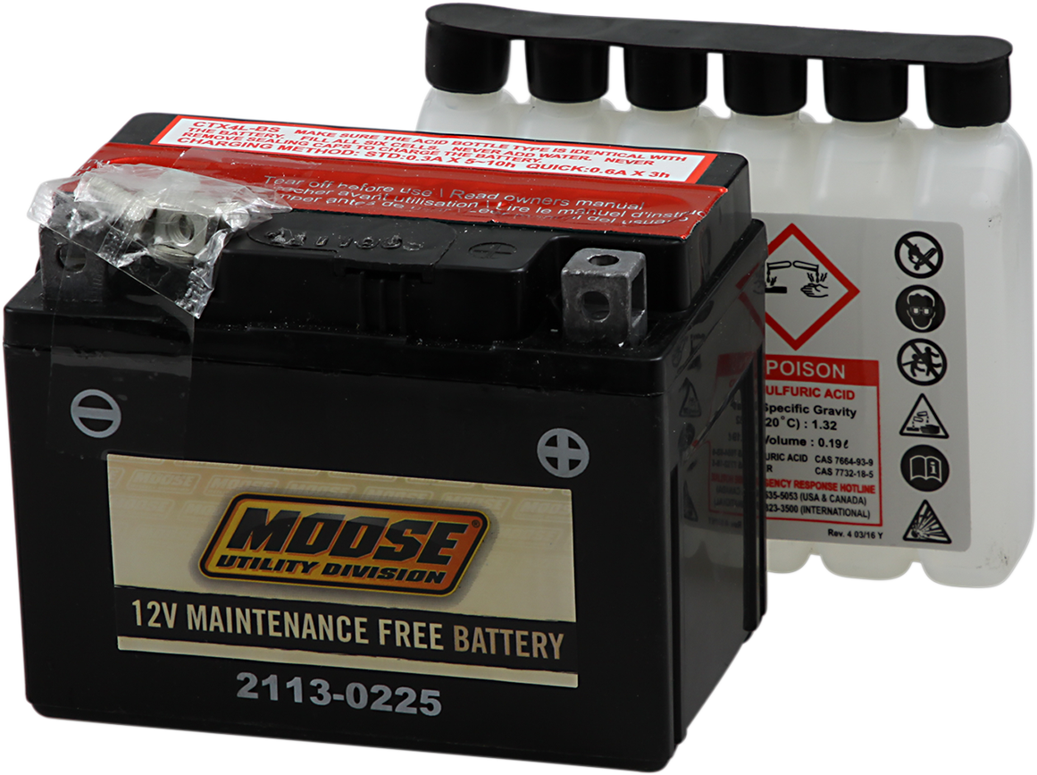 Moose YTX4L-BS Maintenance Free Battery for 99-14 Aeon Arctic Cat Polaris Eton