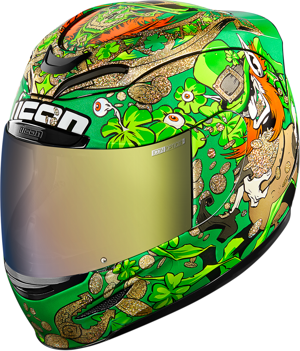 Icon Airmada Green Lepricon Motorcycle Riding Street Racing Full Face Helmet