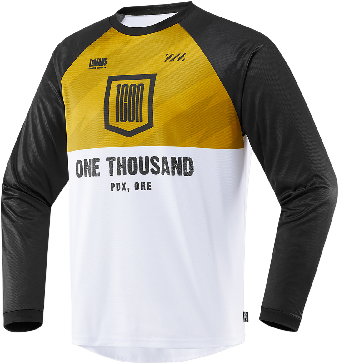Icon 1000 Status Mens Gold Long Sleeve Offroad Riding Dirtbike Racing Jersey