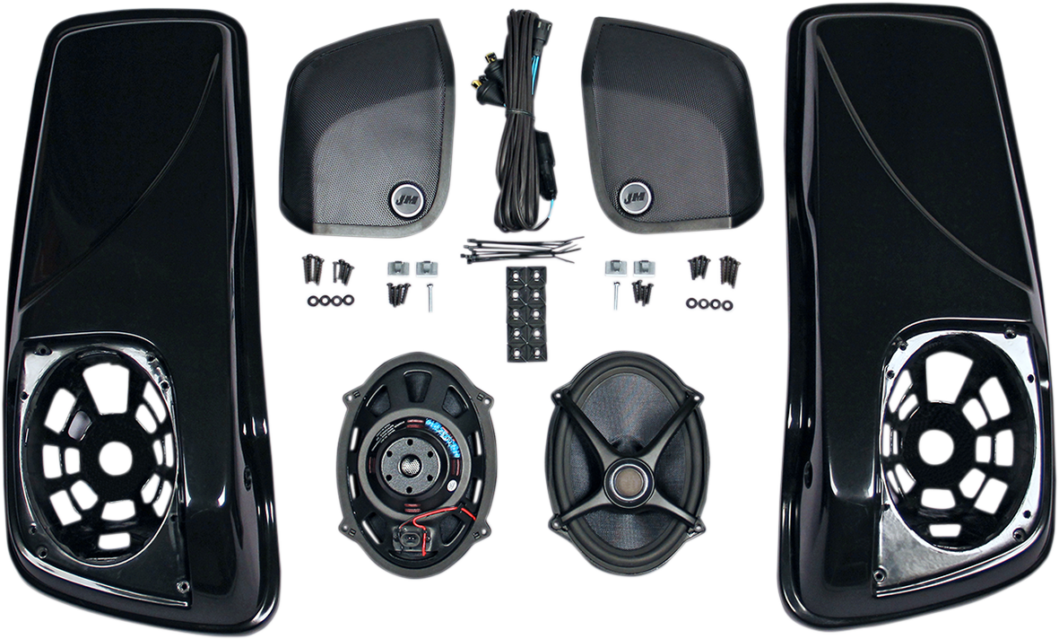 J&M Black Rokker 5x7 Saddlebag Speaker Lid Kit for 14-18 Harley Touring FLHX