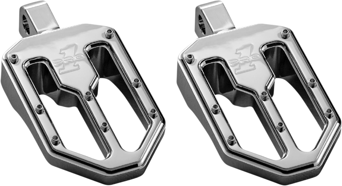 Pro One Moto V1 Chrome Male Mount Motorcycle Footpegs 18-20 Harley Softail FLSL