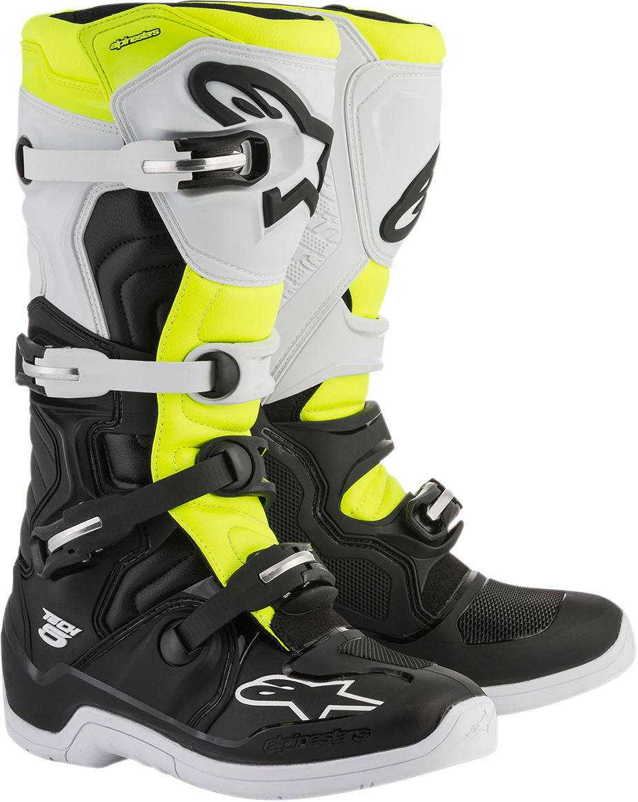Alpinestars Mens Leather Black White Yellow Tech 5 Off road Riding Racing Boots