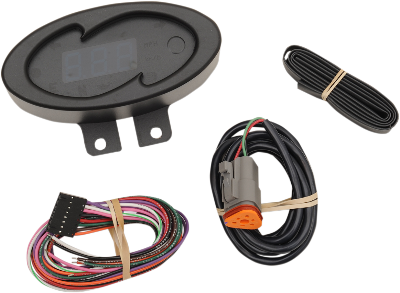 Dakota Digital Black Blue Oval Electronic 5000 Series MPH Motorcycle Speedometer