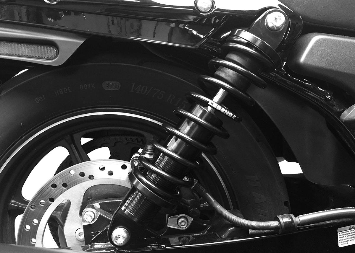 """Legend Black RevoA 13"""" Heavy Duty Rear Motorcycle Shocks for 15-18 Harley Street"""