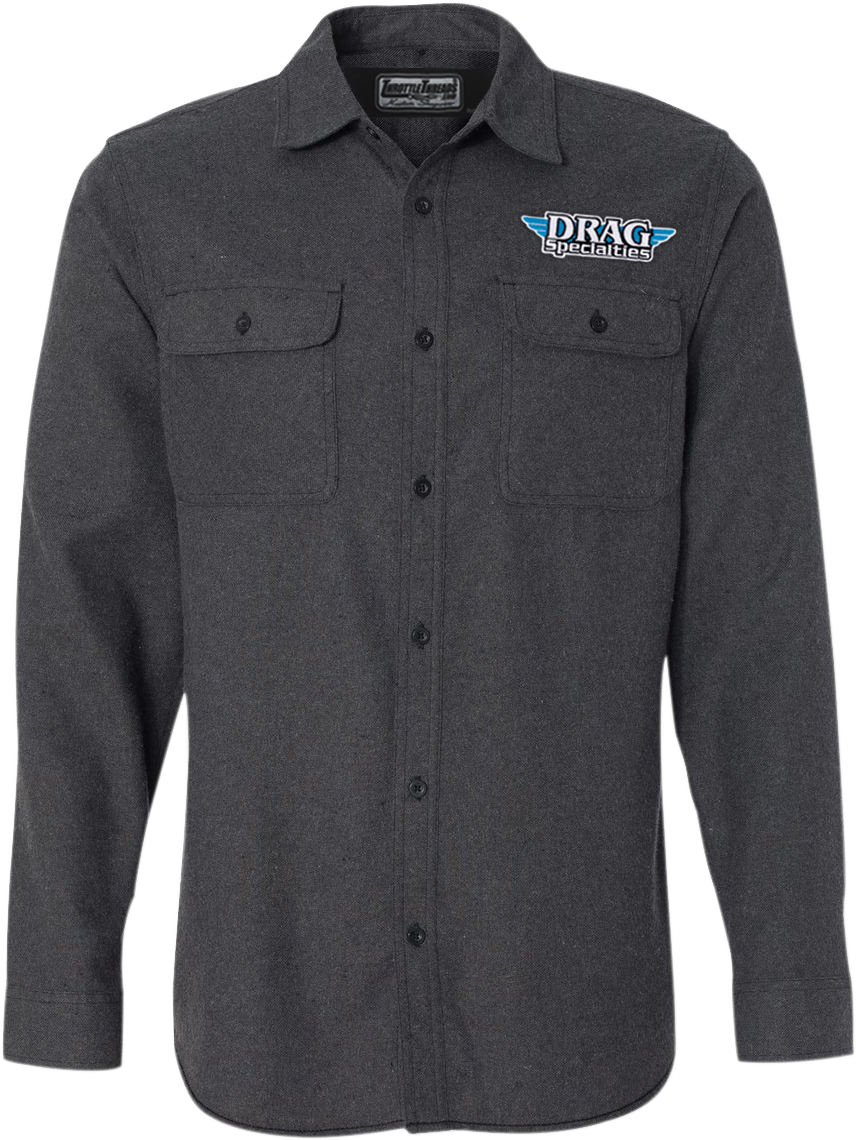 Throttle Threads Mens Drag Specialties Collared Long Sleeve Flannel Shop Shirt