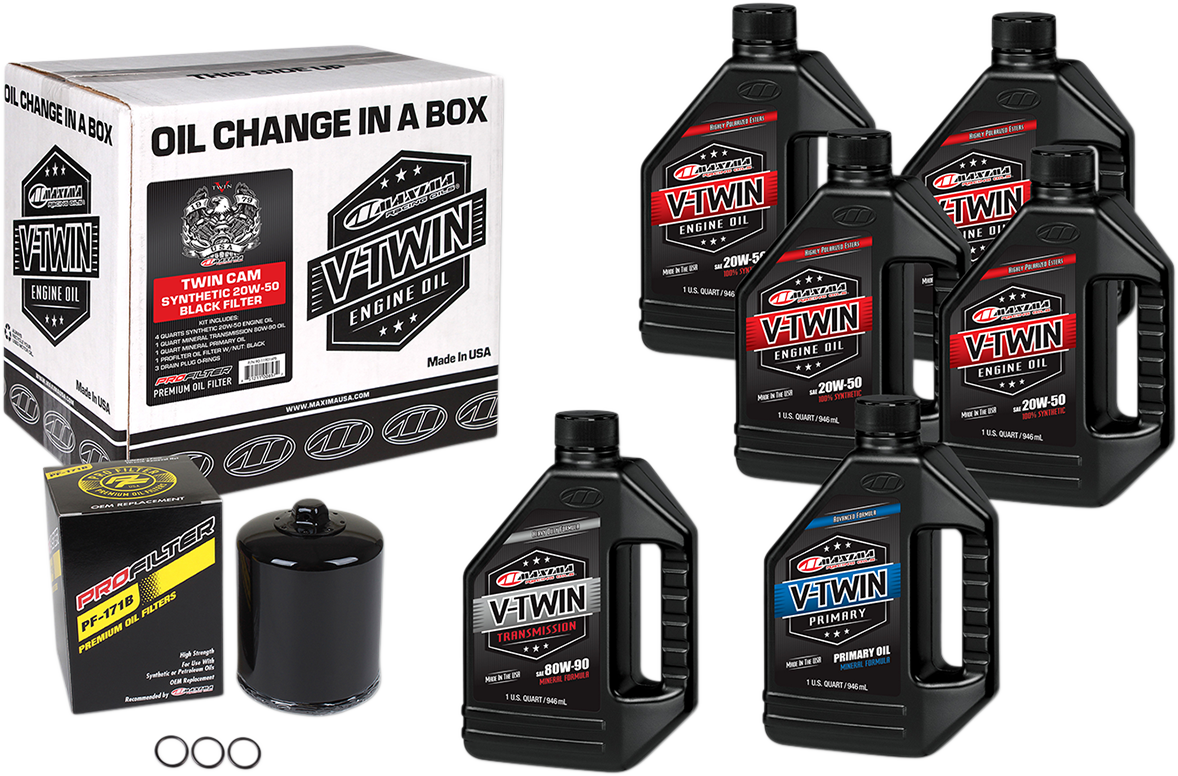 Maxima Twin Cam Oil Change Kit & Black Filter for 99-17 Harley Touring Softail