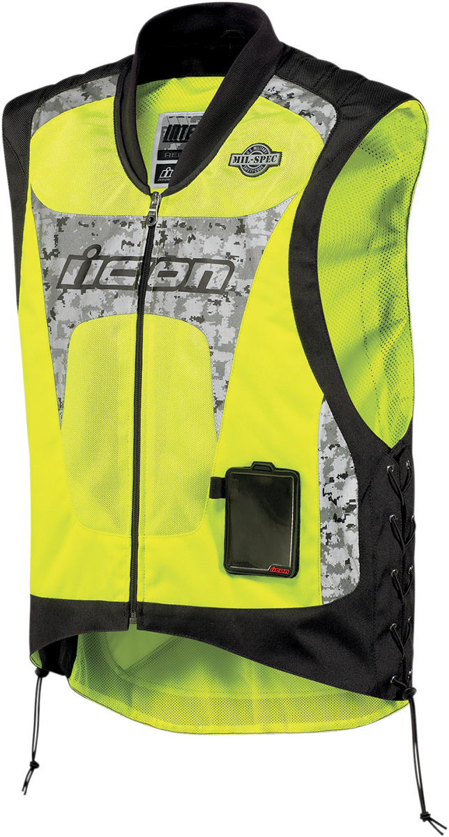 Icon Mens Yellow Mesh Mil Spec Interceptor Reflective Motorcycle Riding Vest
