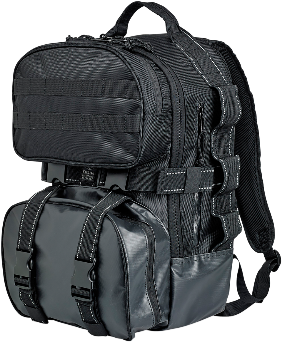 Biltwell Black Exfil-48 Molle Motorcycle Sissy Bar Backpack Bag for Harley