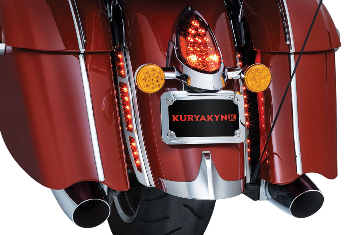 Kuryakyn 5690 Chrome Rear Fender Strip Red LED Lights for 14-19 Indian Chieftain