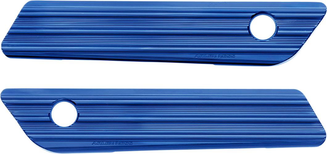 Arlen Ness Blue Rear Hard Saddlebag latch Covers 14-20 Harley Touring FLHR FLHX