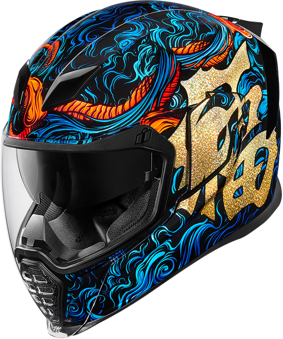 Icon Good Fortune Blue Airflite Full Face Motorcycle Riding Street Racing Helmet