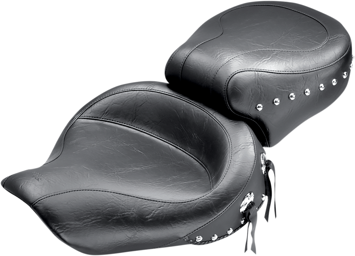 Mustang Studded Black Wide 2-Up Motorcycle Seat 06-17 Harley Dyna FXDL FXDF FLD