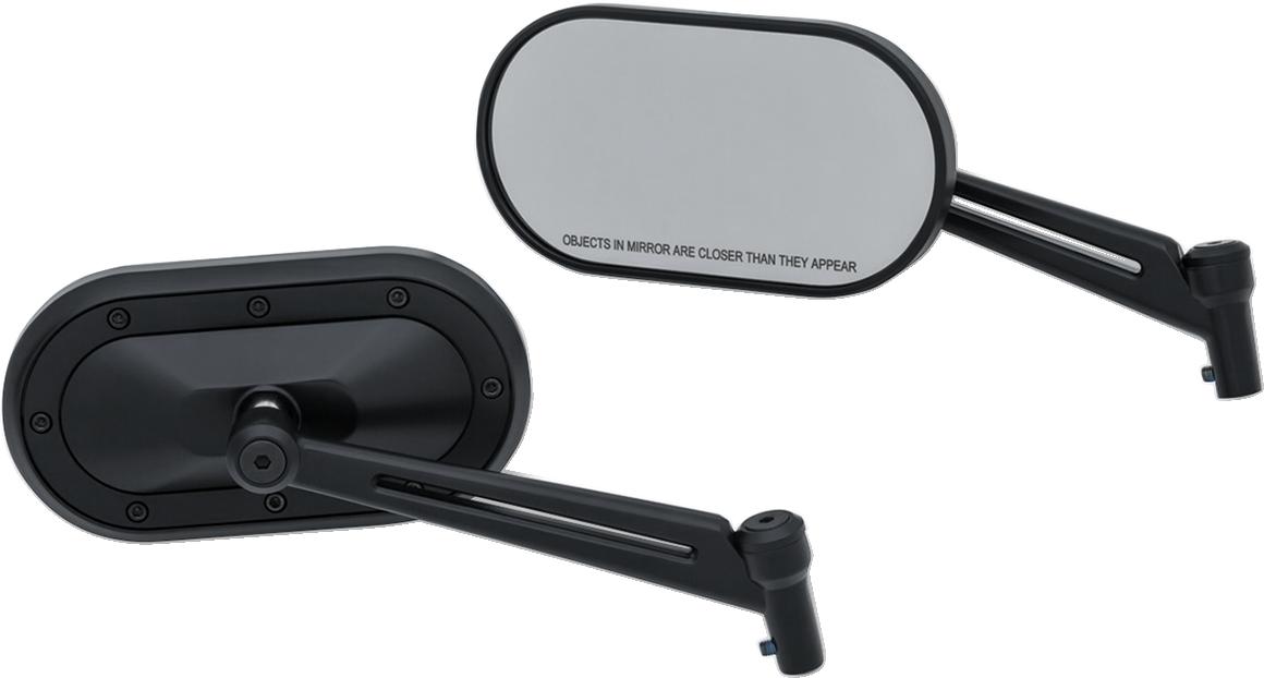 Kuryakyn 1737 Black Heavy Industry Slotted Pair Mirror Set For Harley Davidson
