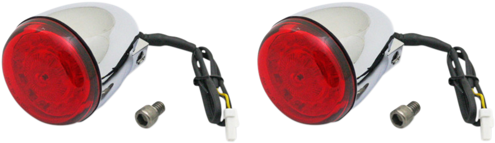 Custom Dynamics Chrome Red Lens Rear LED Turn Signal Kit for 14-19 Indian Chief