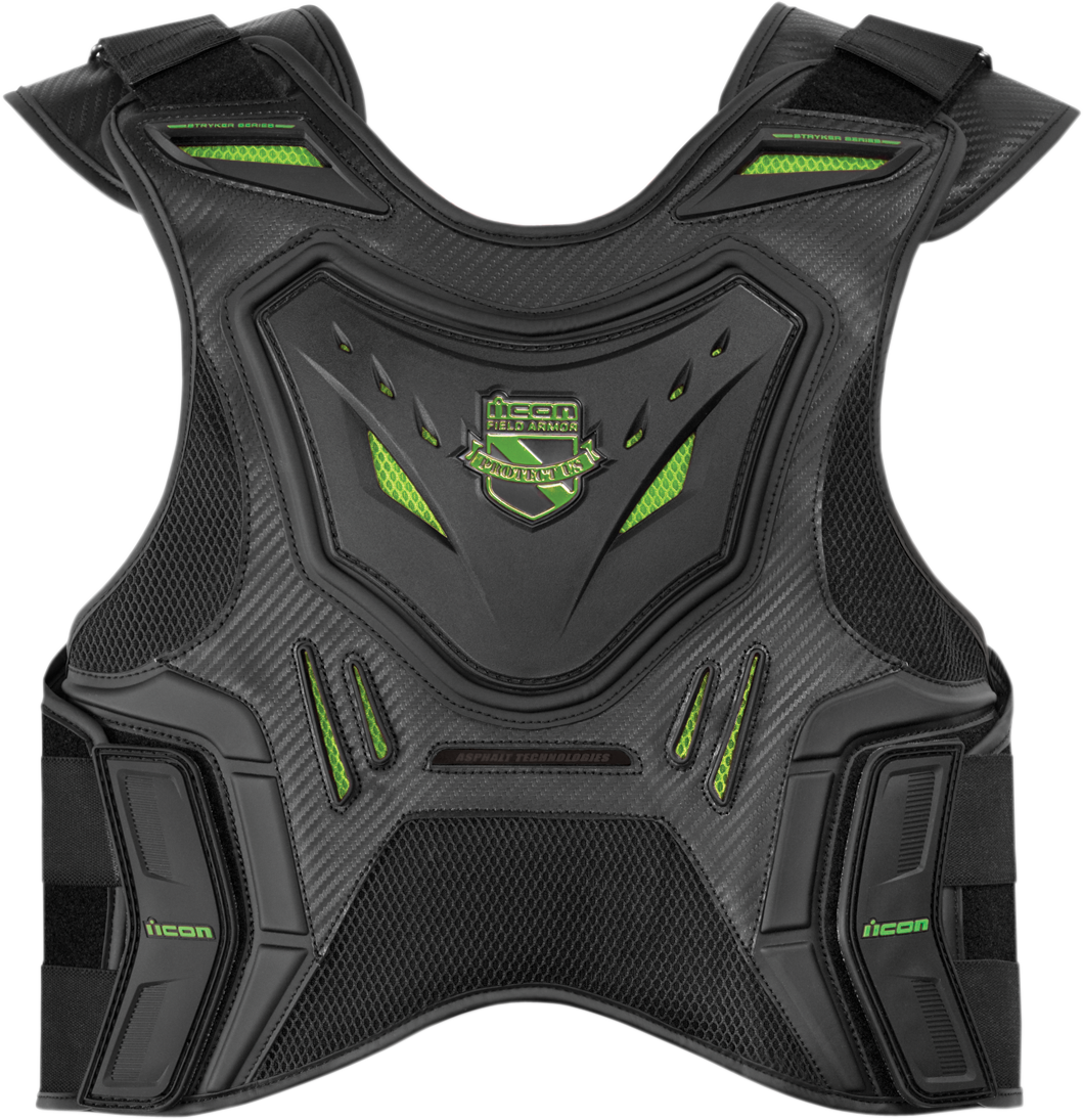 Icon Mens Stryker Green Armored Motorcycle Riding Street Offroad Racing Vest