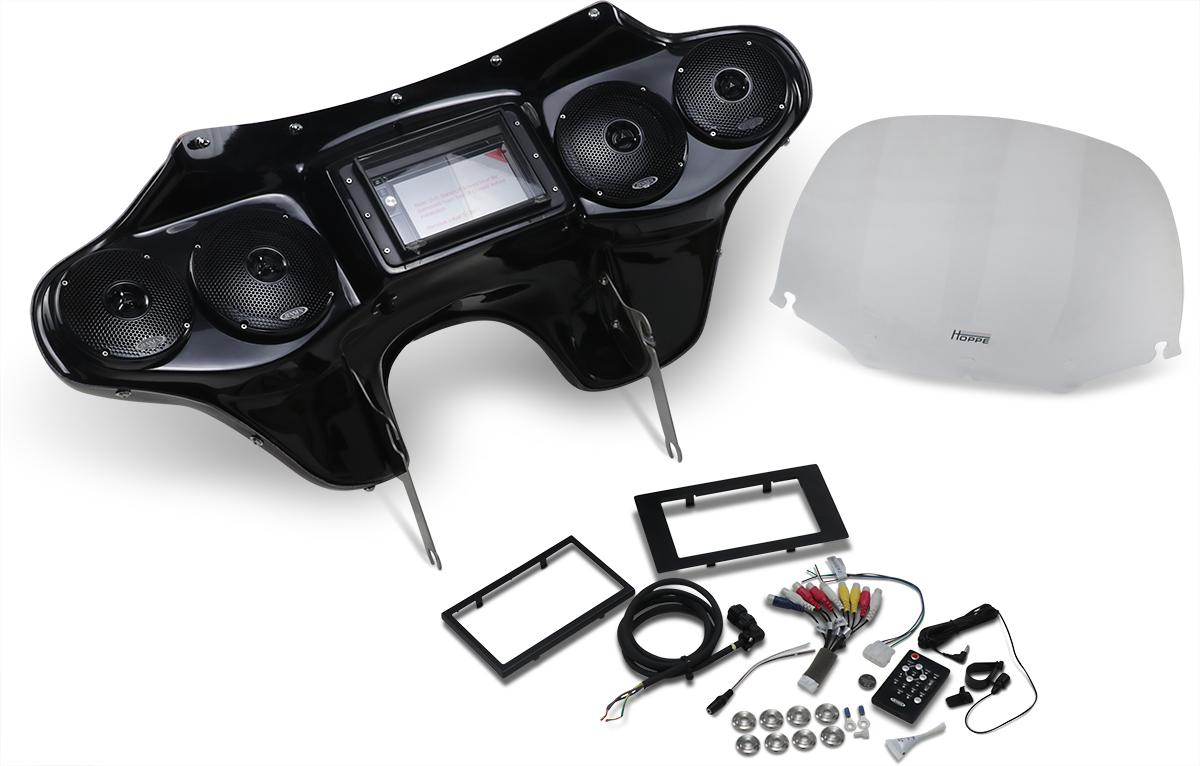 Hoppe Black 5566 Fiberglass Touch Front Fairing Kit for 15-19 Harley FLRT