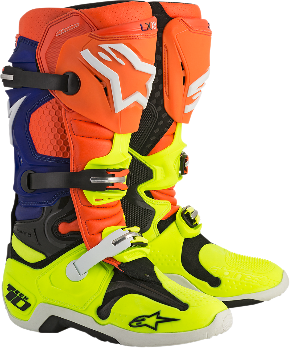 Alpinestars Mens Blue Orange Yellow Tech 10 Offroad Racing Dirtbike Riding Boots