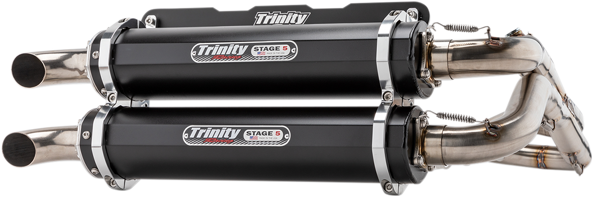Trinity Racing Black 2-2 Stage 5 UTV Exhaust for 18-19 Polaris RZR RS1 1000 4x4