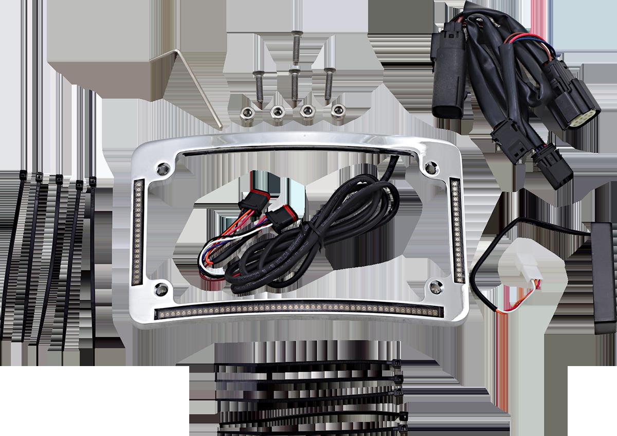 Custom Dynamics Chrome LED Radius Licence Plate Frame 10-13 Harley Touring FLHX
