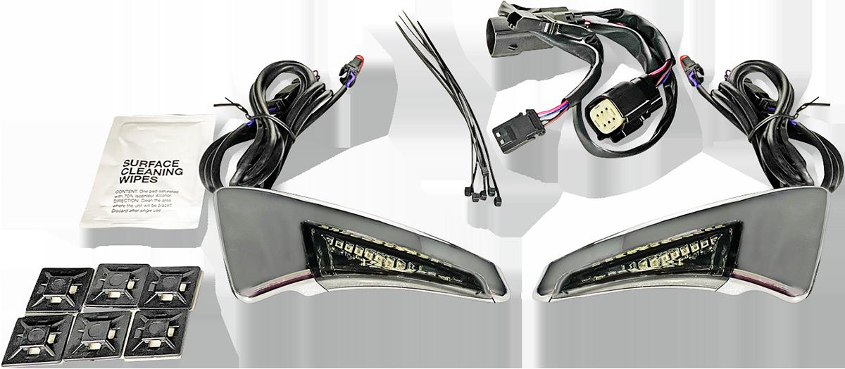 Custom Dynamics Chrome LED Tour Pak Backrest Lights 14-15 Harley Touring CVO
