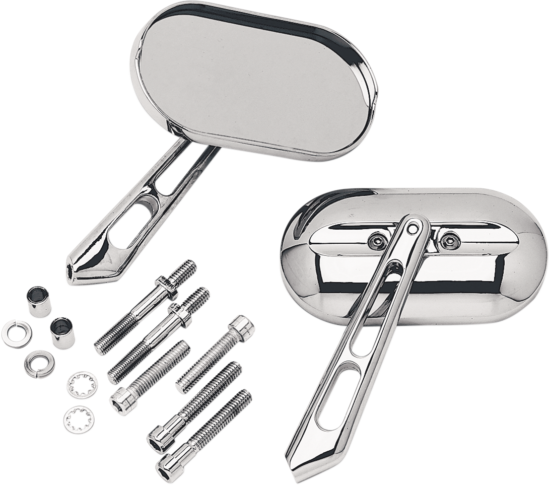 Kuryakyn 1428 Chrome Silver Magnum Convex Small Screw in Motorcycle Mirrors