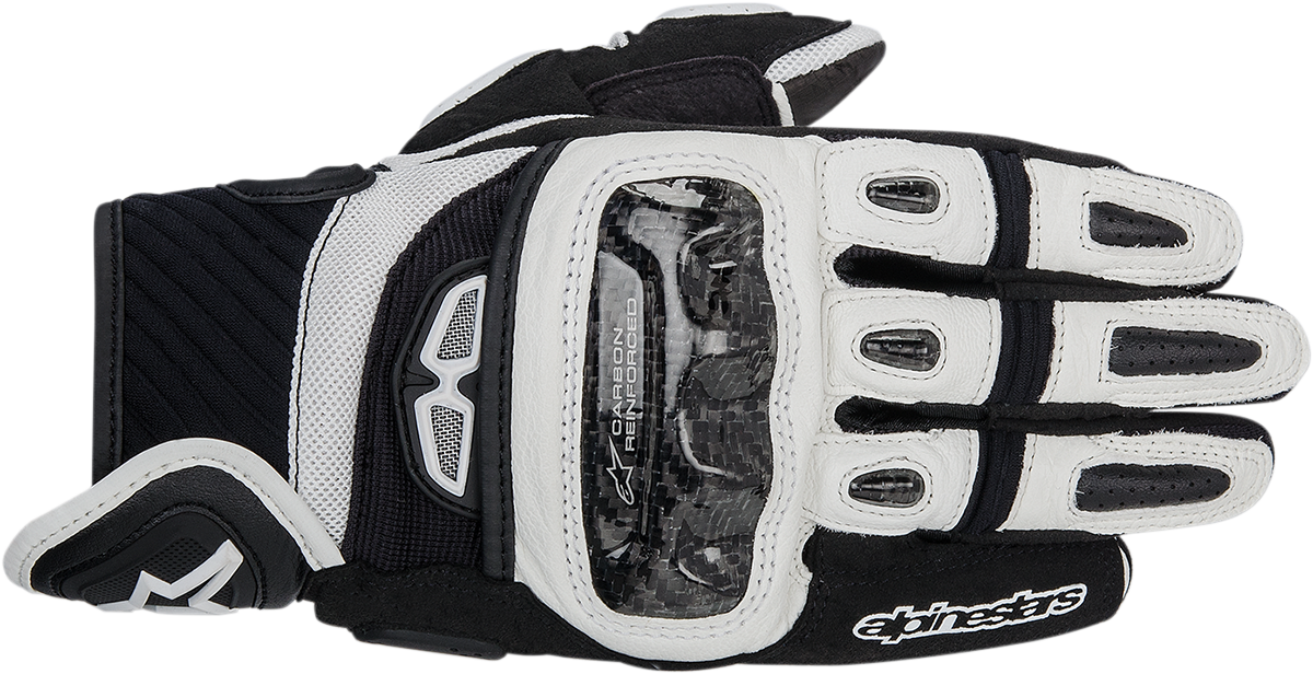 Alpinestars Mens Pair Black White GP Air Motorcycle Riding Street Racing Gloves