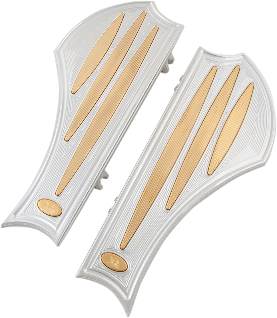 Kens Factory Polished Brass Neo Fusion Floorboards 83-19 Harley Dyna Touring FLS