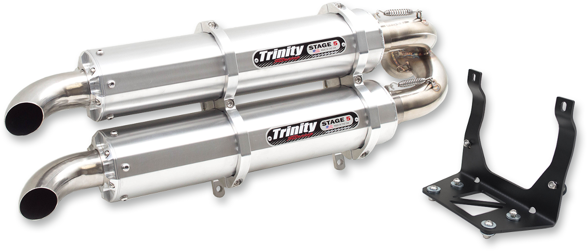 Trinity Racing Silver Stage 5 Exhaust Muffler for 17-18 Can-Am Maverick X3