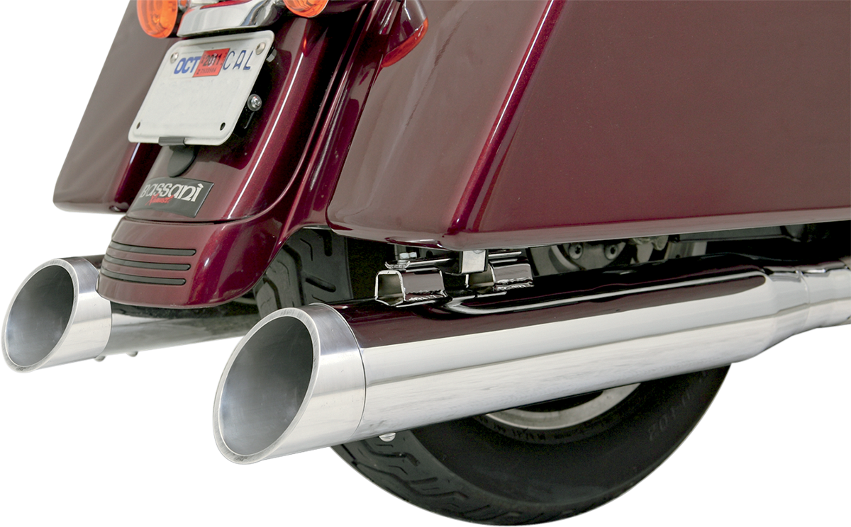 "Bassani Polished 4"" Slash Cut Exhaust Muffler End Cap for Harley Davidson"