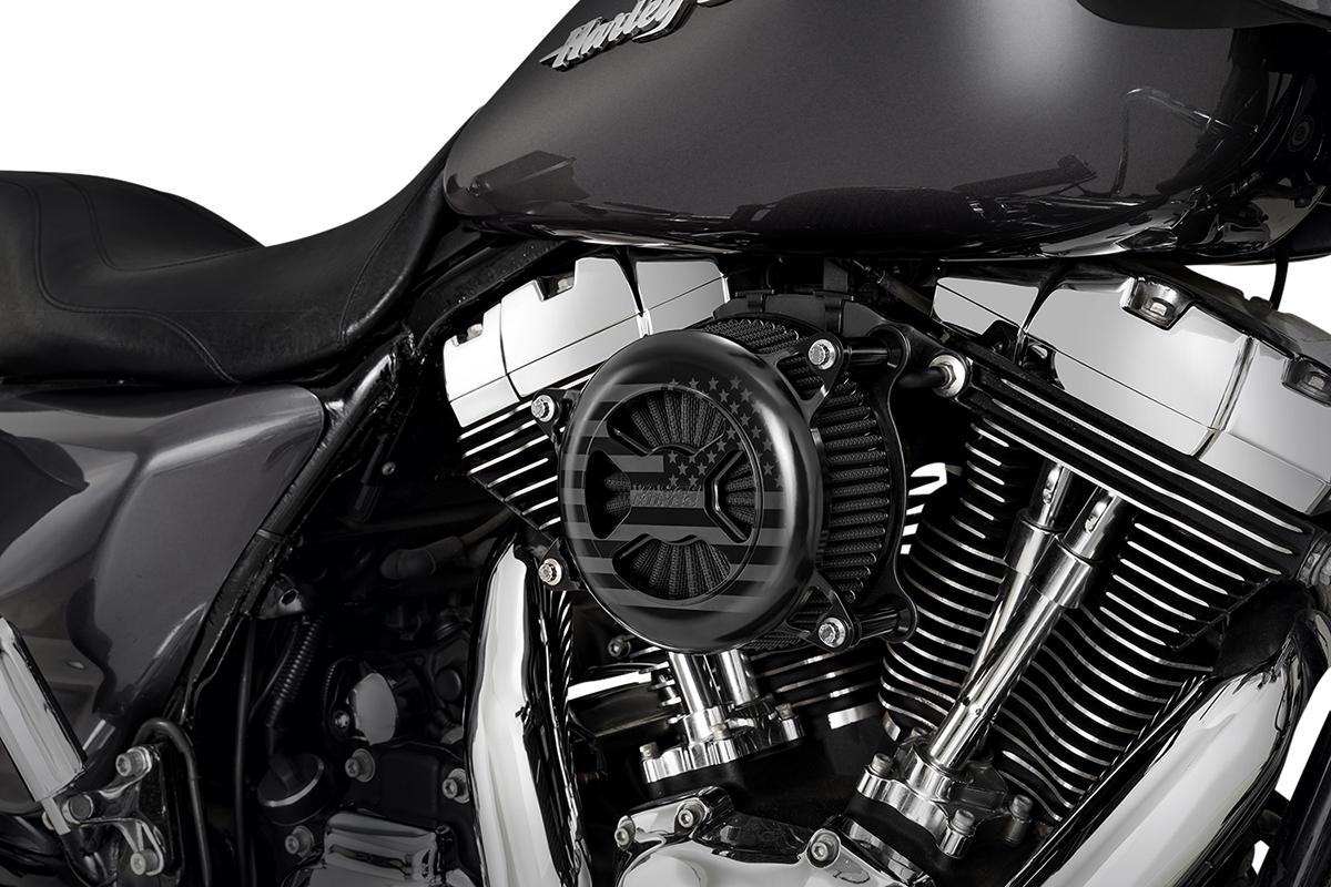 Vance & Hines Black VO2 America Air Filter Cleaner Kit 08-17 Harley Touring