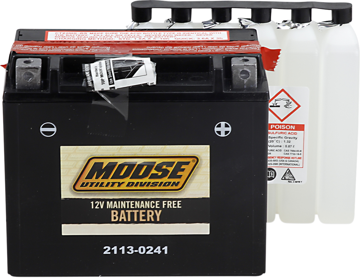 Moose YTX20HL-BS Maintenance Free Battery for 96-17 Can-Am Polaris Yamaha Honda