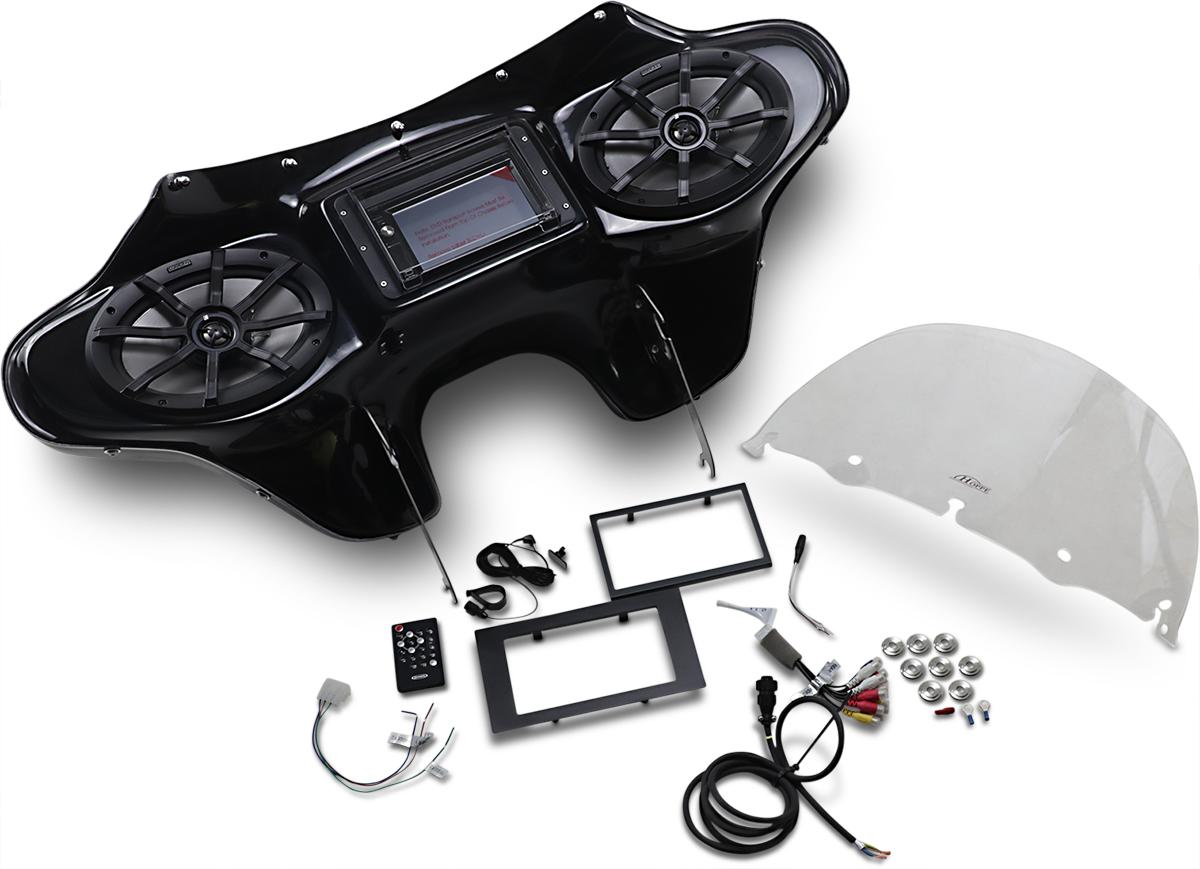 Hoppe Black Fiberglass 6x9 Touch Front Fairing Kit 00-17 Harley Softail FLSTFI