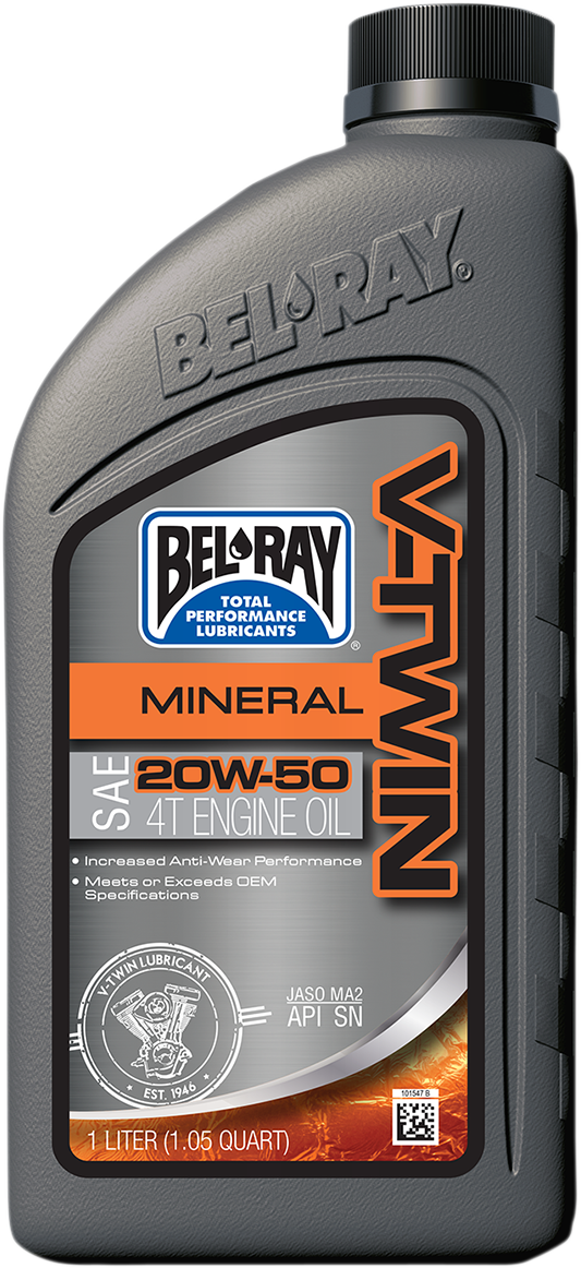 Bel Ray Single SAE 20W-50 Conventional Mineral V-Twin Motorcycle Engine Oil