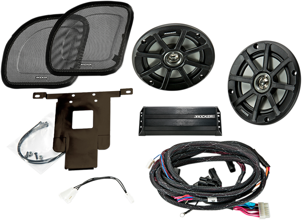 "Kicker 6.5"" Front Fairing Speaker & Amp Kit 15-20 Harley Touring Road Glide"