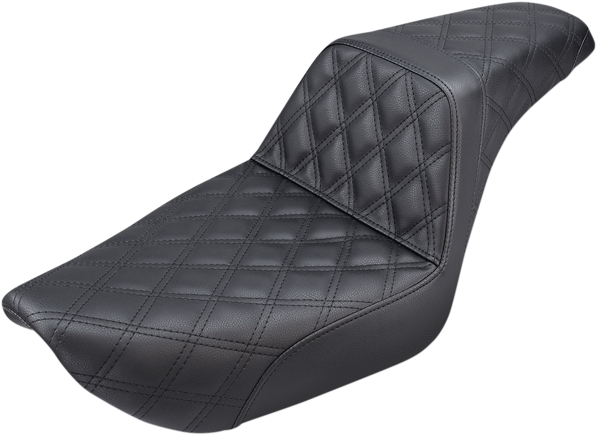 Saddlemen Black Step Up Leather Lattice Seat for 96-03 Harley FXD Super Glide