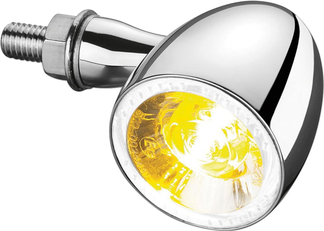 Kuryakyn Single 2552 Chrome Bullet 1000 Amber LED Front Turn Signal for Harley
