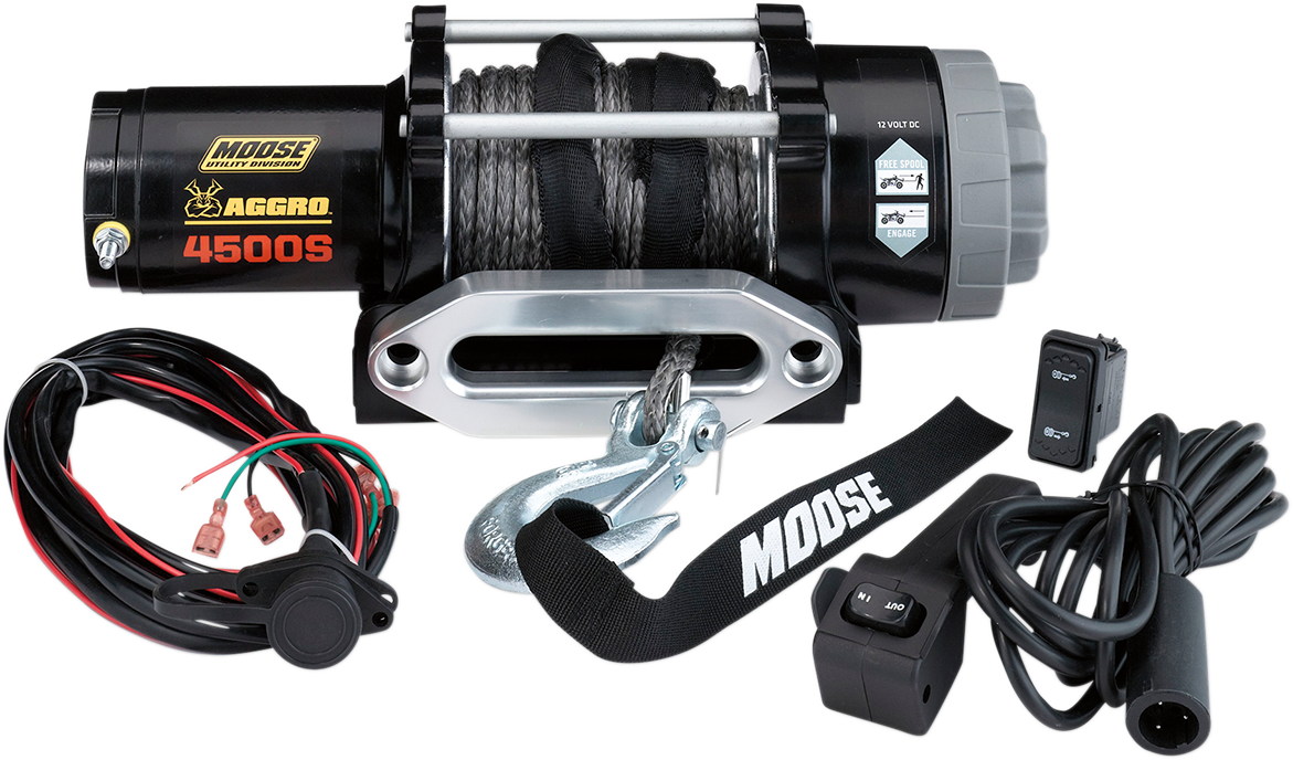 Moose Utility Black 4500 lb 50' Synthetic Rope Aggro UTV Winch