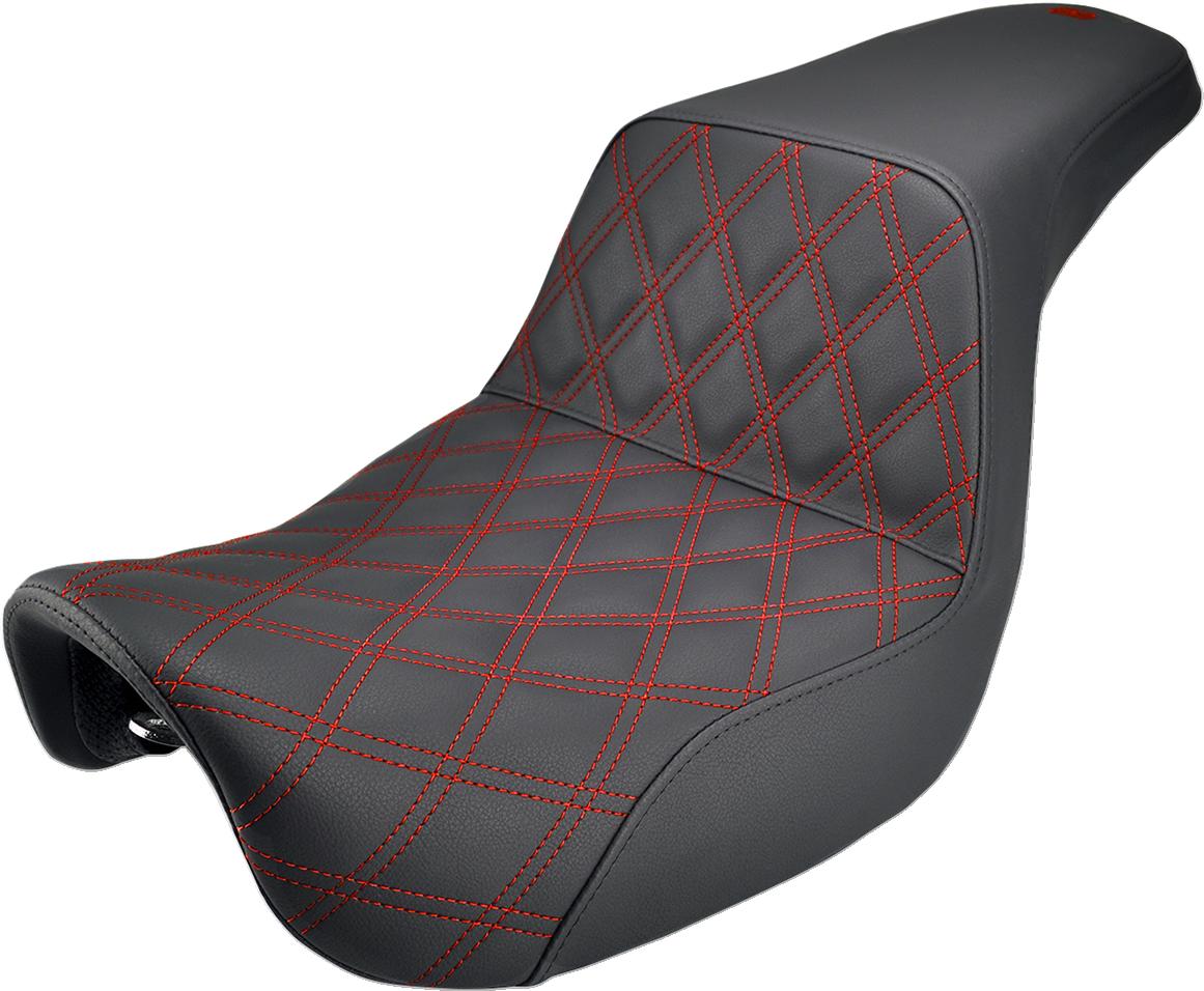 Saddlemen Black Red Lattice Gel Step Up Seat for 06-17 Harley Dyna Switchback