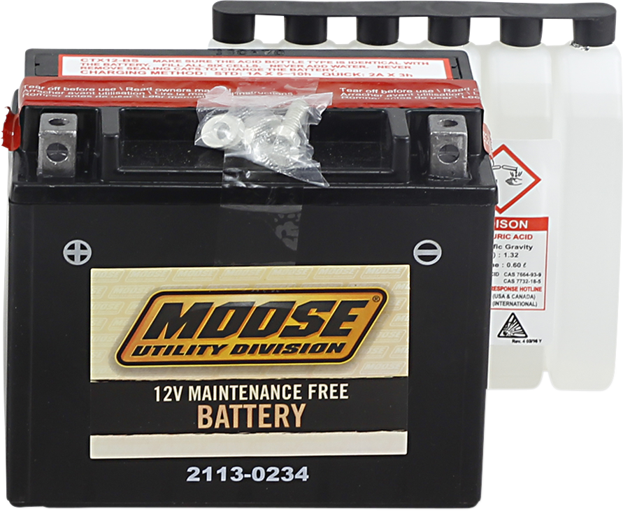 Moose YTZ12-BS Maintenance Free Battery for 85-17 Honda Can-Am Polaris Kymco