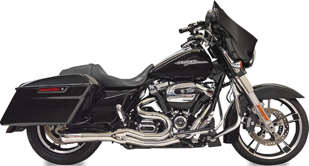 Bassani Road Rage 2-1 Chrome Mid Length Exhaust 17-20 Harley Touring FLHR FLHX