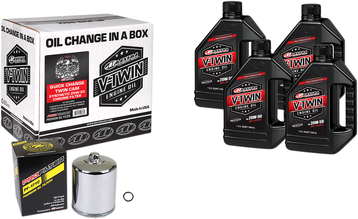 Maxima Twin Cam Quick Change Oil Kit Chrome Filter for 99-17 Harley Touring FLHX